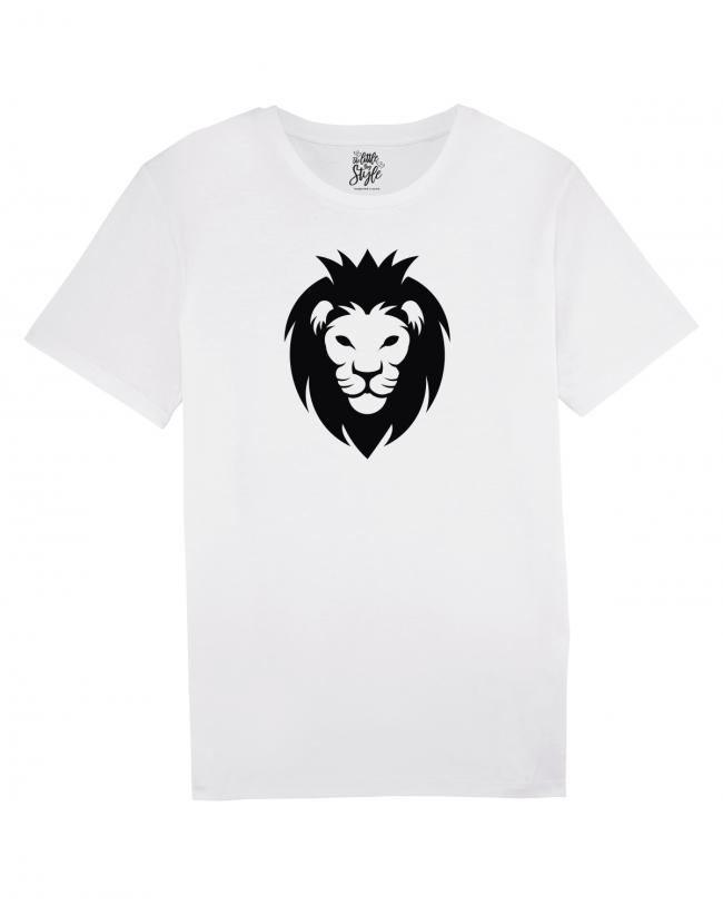 Herren T-Shirt Rundhals weiss Löwenkopf