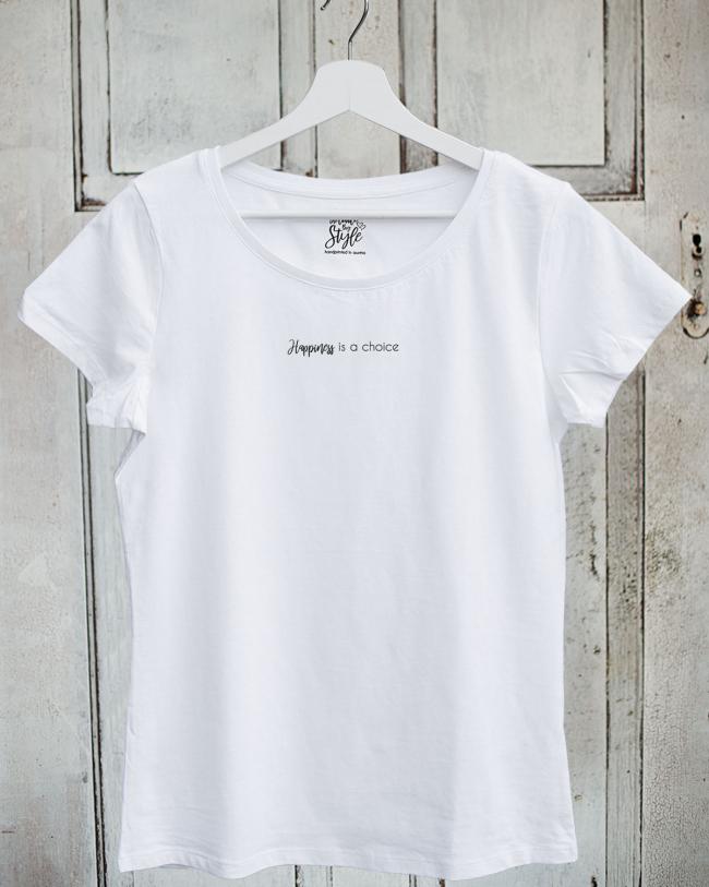 Damen T-Shirt Happiness in Weiß